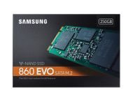 SAMSUNG 860 EVO 250GB M.2 SSD M.2 2280, SATA 3.0,  V-NAND MLC, up to 550/ 520MB/ s read/ write,  150 TBW (MZ-N6E250BW)