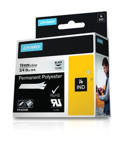 DYMO RHINOPRO 3.75IN CLEAR PERMANENT POLY TAPE CARTRIDGE (622290)