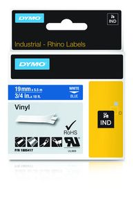 DYMO Rhino 19 mm Vinyl white on Blue (1805417)