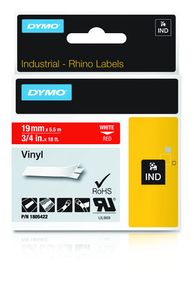 DYMO Rhino 19 mm Vinyl white on Red (1805422)