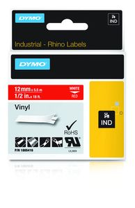 DYMO Rhino 12 mm Vinyl white on Red (1805416)