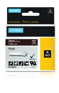 DYMO Rhino 24 mm white on Brown Vinyl (1805424)