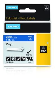DYMO Rhino 24 mm white on Blue Vinyl (1805423)