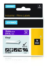 DYMO Rhino 19 mm Vinyl white on Purple (1805421)