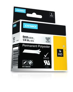 DYMO Rhino 6 mm Perm Poly Black On clear (1805440)