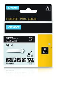 DYMO Rhino 12 mm Vinyl white on Black (1805435)