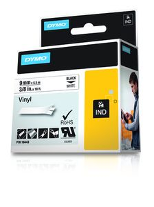 DYMO VINYL TAPE 3/8IN WHITE (18443)