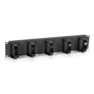 BLACK BOX CABLE GUIDE PANEL - 2U, 5-RING SHALLOW RUN (39698)