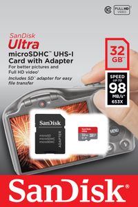 SANDISK Ultra microSDHC 32GB + SD Adapter  98MB/s A1 Class 10 UHS-I - Imaging Packaging (SDSQUAR-032G-GN6IA)