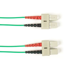 BLACK BOX COLOURED SINGLEMODE PATCH CABLE - LSZH DUPLEX - GREEN, SC-SC, 3M (FOLZHSM-003M-SCSC-GN)