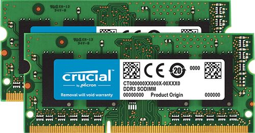 CRUCIAL 16GB KIT 8GBX2 DDR3L 1866 MT CL13 SODIMM 204PIN 1.35V FOR MAC MEM (CT2K8G3S186DM)