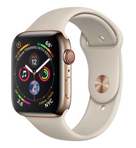APPLE Watch Series 4 GPS + Cellular 44mm Gold Stainless Steel Case with Stone Sport Band (MTX42KS/A)