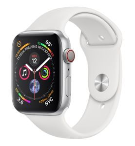 APPLE Watch Series 4 GPS + Cellular 44mm Silver Aluminium Case with White Sport Band (MTVR2KS/A)