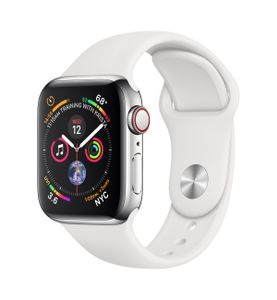 APPLE Watch Series 4 GPS + Cellular 40mm Stainless Steel Case with White Sport Band (MTVJ2KS/A)