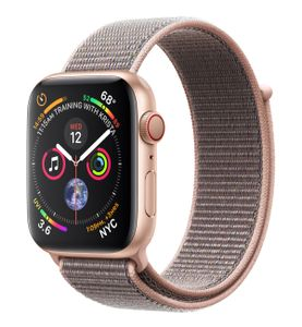 APPLE Watch Series 4 GPS + Cellular, 44mm Gold Aluminium Case with Pink Sand Sport Loop (MTVX2DH/A)