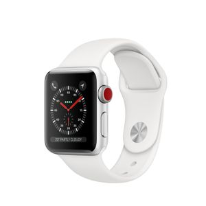 APPLE Watch Series 3 GPS + Cellular 38mm Silver Aluminium Case with White Sport Band (MTGN2FS/A)
