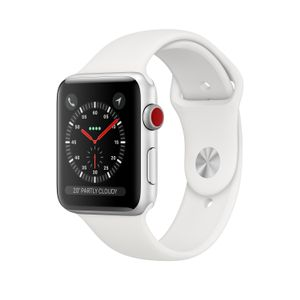 APPLE Watch Series 3 GPS + Cellular 42mm Silver Aluminium Case with White Sport Band (MTH12FS/A)