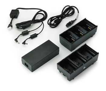 ZEBRA Two 3 slot battery chargers (charges 6 batteries) with power supply and Y cable, ZQ600, QLn or ZQ500. UK power cord included (SAC-MPP-6BCHUK1-01)