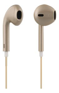 STREETZ semi-in-ear headset, svarsknapp,  3,5mm, mikrofon, guld (HL-358)