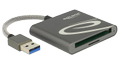 DELOCK USB Card Reader for Compact Flash or Micro SD, USB 3.0, silver