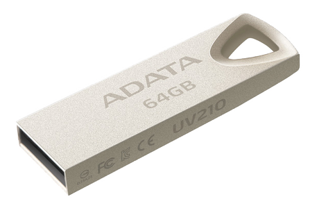 A-DATA USB Flash Drive UV210 64GB USB 2.0, golden (AUV210-64G-RGD)