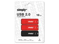 SIMPLY USB-hukommelse SIMPLY USB 2.0 16GB 3/pk (168841)
