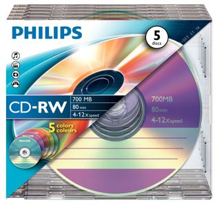 PHILIPS CD-RW Philips 700MB  5-Pack Slim Case colored discs 4-12x (CW7D2CC05/00)