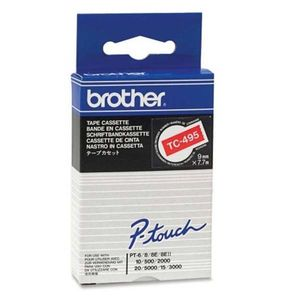 BROTHER Tape/9mm white on red (TC495)