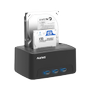 DELTACO 2Bay USB3.0 HDD docking with clone function, Black