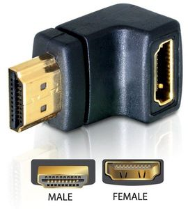 DELOCK HDMI-adapter,  19-pin hane till hona, vinklad (65071)