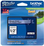 BROTHER 12MM Black On Clear Tape (TZE131)