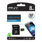PNY MICRO-SDHC PERFORMANCE 8GB CLASS 10 UHS1 R 50MB/S W 10MB/S