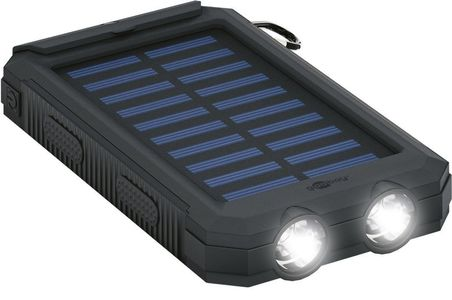 GOOBAY Outdoor PowerBank 8.0 (8,000 mAh), black - for outdoor adventures thanks to its robust design, solar panel and torch function (49216)