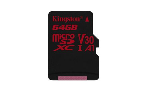 KINGSTON 64GB microSDXC Canvas React 100R/80W U3 USH-I V30 A1 Card without SD adapter (SDCR/64GBSP)