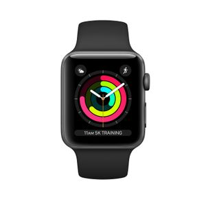 APPLE WATCH SERIESA3 GPS 38MM SPACE GREY ALUM BLK SPT BAND     IN CONS (MTF02FS/A)