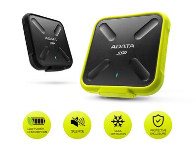 A-DATA Adata SSD SD700 256GB, 440/ 430MB/ s,  USB3.1, yellow (ASD700-256GU31-CYL)