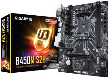 GIGABYTE B450M S2H AM4 B450 MATX SND+GLN+U3.1+M2 SATA 6GB/S DDR4  IN CPNT (B450M S2H)