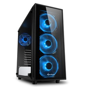 SHARKOON TG4, Midi-Tower,  PC, Tempered glass, ATX, Micro-ATX, Mini-ITX,  Black, Blue (4044951026661)