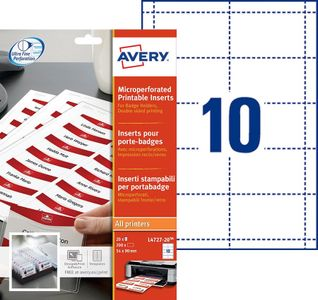 AVERY Micro Perforated Inserts for Badge Holders, 190 g, 54x9 10 Labels/ sheet/ 20 sheets/ pack (L4727-20)