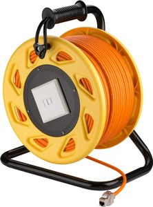 GOOBAY mobile RJ45 Network Cable Reel, orange, 50 m - High-quality,  shielded, halogen-free CAT 7A S/FTP (1200Â MHz) installation cable on a robust cable reel (58934)