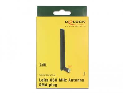 DELOCK LoRa 868 MHz Antenna SMA plug 3 dBi omnidirectional with tilt joint bl (89769)