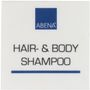 Label til dispenser, 4x4cm, blå, hair- & bodyshampoo