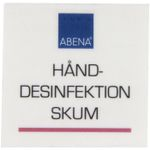 Label til dispenser,  4x4cm, rød, skum hånddesinfektion
