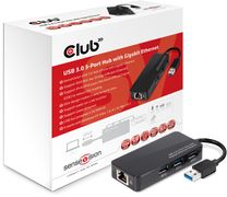 Club 3D Club3D SenseVision USB 3.0 3-Port Hub with Gigabit Ethernet - Dokkingstasjon - USB-C - GigE