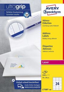 AVERY Addressing Labels  Small Envelopes(No QuickPEEL) 70x36 mm (L7180-100)