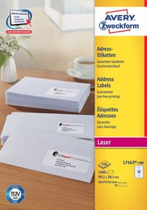 AVERY White Adressing Labels For Laser 99.1x38.1mm 14 Labels/ Sheets **100-pack** (L7163-100)