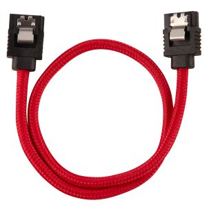 CORSAIR Premium Sleeved SATA Data Cable Set with Straight Connectors_ Red_ 30cm (CC-8900250)