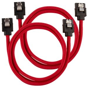 CORSAIR Premium Sleeved SATA Data Cable Set with Straight Connectors_ Red_ 60cm (CC-8900254)