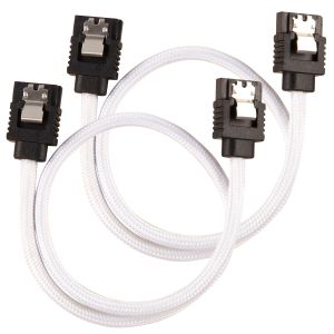 CORSAIR Premium Sleeved SATA Data Cable Set with Straight Connectors_ White_ 30cm (CC-8900249)