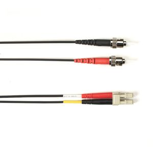 BLACK BOX COLOURED SINGLEMODE PATCH CABLE - LSZH DUPLEX - BLACK, ST-LC, 3M (FOLZHSM-003M-STLC-BK)